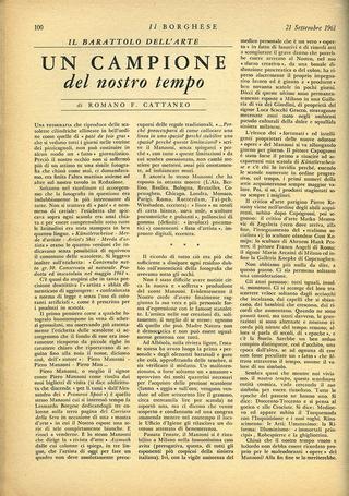 """Un campione del nostro tempo, """"Il Borghese"""", Milano, n. 38, 21 settembre 1961, p. 100"""