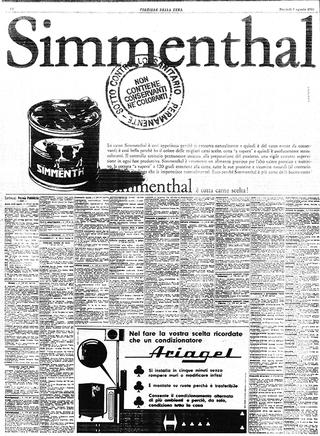 """Iconografie del cibo: Piero Manzoni e la pubblicità del suo tempo, Pubblicità Simmenthal, """"Corriere della Sera"""", 9 agosto 1960"""