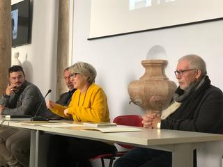 """""""PIERO MANZONI. ATTORNO ALL'IDEA DI MERDA D'ARTISTA"""", Da sinistra Luca Bochicchio, Marco Senaldi, Rosalia Pasqualino di Marineo e Flaminio Gualdoni."""