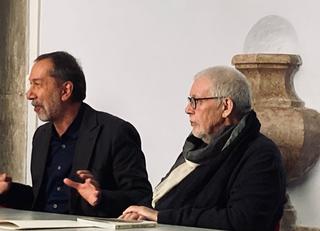 """""""PIERO MANZONI. ATTORNO ALL'IDEA DI MERDA D'ARTISTA"""", Da sinistra Marco Senaldi e Flaminio Gualdoni."""