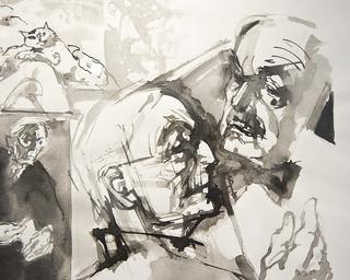 """Ursula & Gunter Böhmer, I disegni  Il disegno è stata anche la tecnica prediletta della sua attività illustrativa. Dal suo primo incarico - la nuova edizione del romanzo giovanile di Hermann Hesse """"Hermann Lauscher"""" – fino alla morte Gunter Böhmer ha illustrato o concepito circa 500 opere letterarie, molte delle quali per editori rinomati e scrittori conosciuti in tutto il mondo, ma molte altre anche per autori contemporanei d'importanza soltanto regionale o transregionale."""