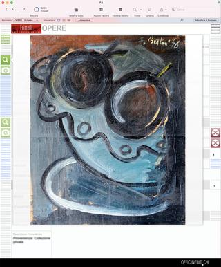 Fritelli Arte Contemporanea, Il corredo iconografico dell'opera  Adogni opera è correlato un corredo di immagini. Un sistema che consente un continuo aggiornamento dei contenuti senza mai perdere trattidel pregresso.