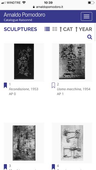 Arnaldo Pomodoro, Un progetto pluriennale  Il progetto del Catalogue Raisonné, condotto dalla Fondazione Arnaldo Pomodoro, prevede uno sviluppo pluriennale, affidato allo storico staff di studio dell'Archivio Pomodoro con il coordinamento scientifico dell'artista stesso, in continuità con il catalogo ragionato della scultura.
