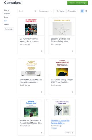 Lia Rumma, Comunicazione e newsletter  La galleria utilizza un sistema avanzato e al tempo stesso intuitivo di newsletter, appositamente creato per gestire la comunicazione istituzionale dell'Ente.