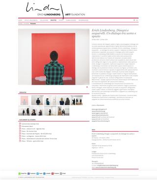 Erich Lindenberg Art Foundation, Una documentazione completa  Per ogni evento o esposizione il sito raccoglie diversi materiali multimediali: comunicato stampa, gallery di immagini, contenuti video e file in PDF dei materiali disponibilidella rassegna stampa dell'evento.