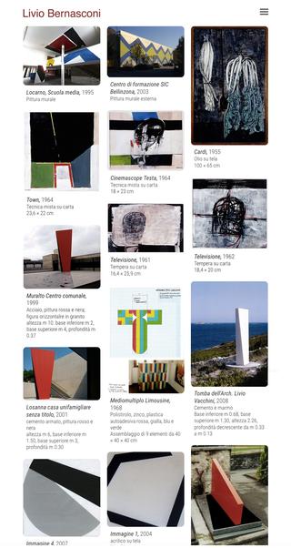 """Livio Bernasconi, Il sito: Artistwall  Il sito www.liviobernasconi.ch è basato su """"Artistwall"""", una piattaforma web ideata originariamente per le collezioni d'arte e i portfolio d'artista, una soluzione semplice ma estremamente versatile, può adattarsi a contenuti e tipologie anche differenti."""