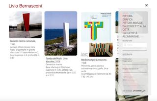 Livio Bernasconi, Filtri e ricerca  I contenuti di Artistwall possono essere organizzati in categorie o argomenti. Questi compaiono nel menù di navigazione e agiscono da filtri per selezionare i dati visibili. È sempre possibile cercare un'opera in particolare attraverso il campo di ricerca libera.