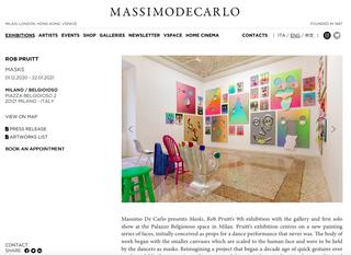 Massimo De Carlo, Il sito  Il sito della galleria Massimo De Carlo presenta diverse sezioni con vari livelli di approfondimento su un tema grafico personalizzato e totalmente responsive.