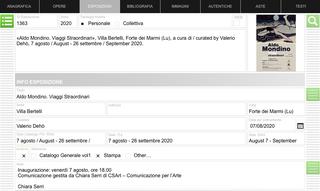 Aldo Mondino, Uno strumento, mille risorse  L'archivio digitale dell'opera di Aldo Mondino è in grado di adattarsi alle diverse tipologie di utenti che lo consultano, offrendo differenti formati per l'inserimento dei dati dedicati ai diversi membri dello staff: stampe di report, schede opere ed elenchi (anche in lingue diverse) per collezionisti e studiosi che ne facciano richiesta, form di ricerca semplificata per i collaboratori esterni (galleristi, editori, ecc…) che devono consultarne i dati.