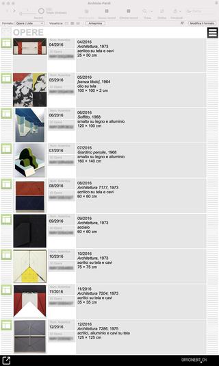 Gianfranco Pardi, L'archivio delle opere  La puntuale catalogazione dell'opera di Gianfranco Pardi viene svolta con il supporto di una soluzione gestionale progettata e realizzata con L'Archivio Gianfranco Pardi seguendo le particolarità dell'opera dell'Artista. (Visualizzazione ad elenco delle opere archiviate)