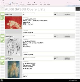 Aligi Sassu, Opere  Tutte le opere inventariate sono visualizzabili in formato lista e informato scheda. Ogni opera è correlata con il proprio corredo documentale, espositivo, bibliografico edi immagini.