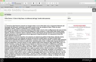 Aligi Sassu, Documenti  Screenshot della sezione relativa all'archiviazione dei documenti. Ogni documento viene correlato a opere, cataloghi e esposizioni. Il documento digitalizzato è disponibile sia come testo che come file PDF.