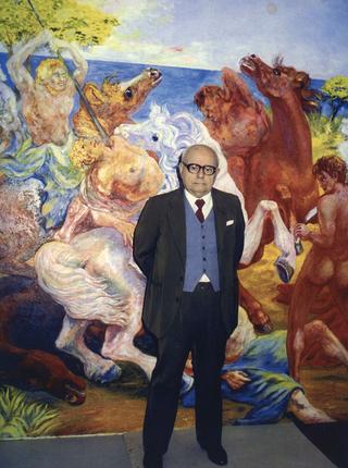 Aligi Sassu, Aligi Sassu davanti alla sua operaBattaglia dei tre cavalieri,1975/89 olio su tela; 260 × 260 cm