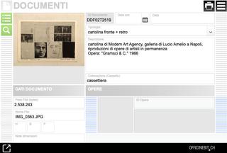 Bruno Di Bello, Documenti  Screenshot della sezione relativa all'archiviazione dei documenti. Ogni documento viene correlato a opere, cataloghi e esposizioni. Il documento digitalizzato è disponibile sia come testo che come file PDF.