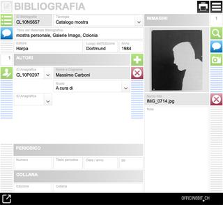 Bruno Di Bello, Bibliografia  Il databaseBibliografiaconsente la catalogazienedelle notizie bibliografiche attinenti ai diversi soggetti di ricerca: leopere, le esposizioni, i documenti. Gli apparati bibliografici sono corredati di immagini e riferimenti agli autori