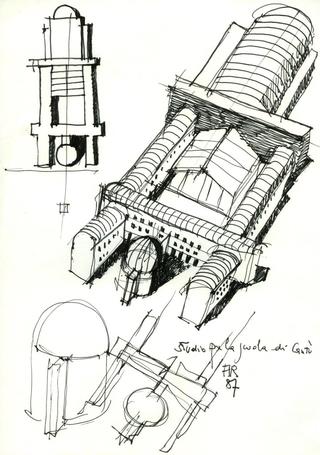 Aldo Rossi, Studio per la scuola di Cantù, 1987 © Eredi Aldo Rossi Courtesy Fondazione Aldo Rossi