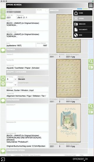 """Ursula & Gunter Böhmer, Sistema di schedatura. Tabella """"opere"""", visualizzazione in formato Scheda"""