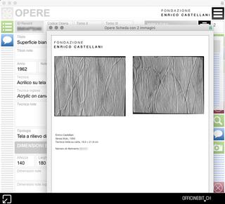 Enrico Castellani, Dossier opere  Da ogni sezione si possono produrre liste con più record o schede analitiche che riportano immagini e dati accurattamente formattati, per generare con un solo click documenti pronti per la stampa e la divulgazione.