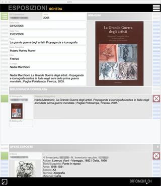 Banca Monte dei Paschi, Esposizioni  Soluzione software per l'archiviazione delle opere d'arte. Database del patrimonio artistico. Screenshot dellafinestra Esposizioni.