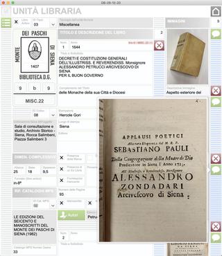 Banca Monte dei Paschi, Unità libraria  Soluzione software per l'archiviazione delFondo Librario Antico. Database dell'inventario del libro antico. Screenshot dellafinestraUnità libraria.