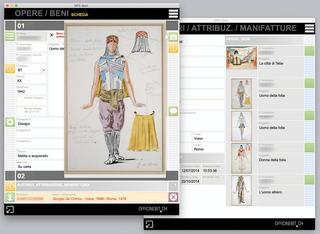 Banca Monte dei Paschi, Opere  Soluzione software per l'archiviazione delle opere d'arte. Database del patrimonio artistico. Screenshot dellefinestre dell'opera e del relativo autorenel formato Scheda.