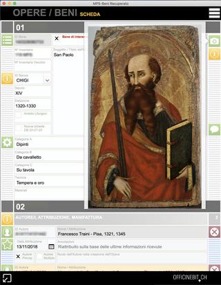 Banca Monte dei Paschi, La scheda di un'opera  Soluzione software per l'archiviazione delle opere d'arte. Database del patrimonio artistico. Screenshot dellefinestre dell'opera nel formato Scheda