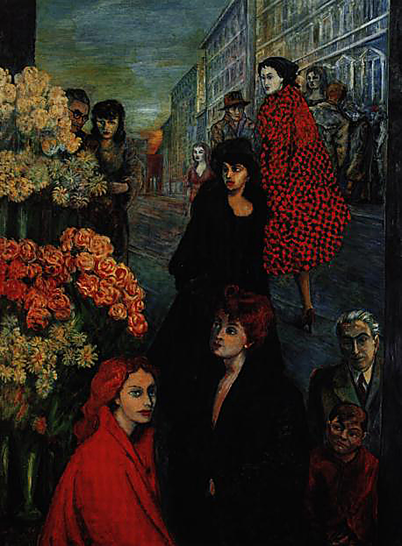 Aligi Sassu,   Via Manzoni 1952 olio su tela 200 × 149,5 cm, © Archivio Aligi Sassu