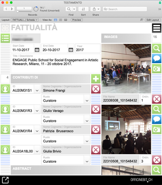 Viafarini, Fattualità  Ildatabase di Viafarini è organizzato per la schedatura di tutti gli eventi della trentennale attività mettendo in relazione artisti, opere e collezioni con i contributi di tutti i promotori e sostenitori dello straordinario spazio indipendente milanese.