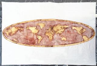 Manto mutante, Manto mutante, 2003 230x330 cm caffè, pigmenti e doratura su lino