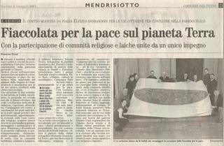 Manto mutante, Articolo sul Corriere del Ticino, febbraio 2003 in occasione della manifestazione contro la guerra all'Iraq