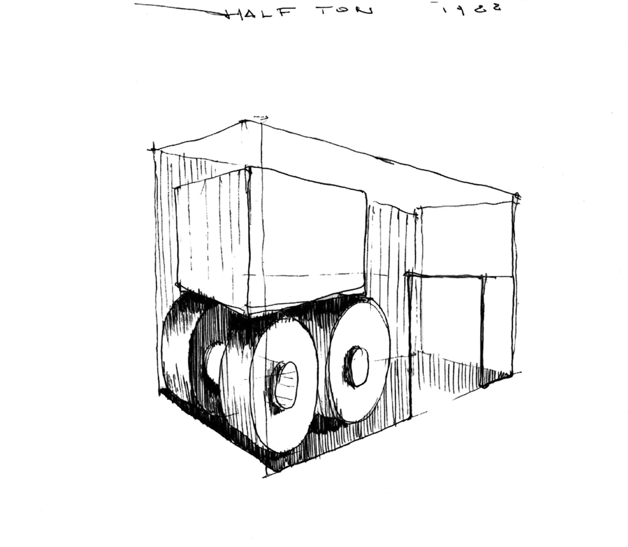 Progetto per Half Ton, Schizzo progettuale per installazione Studio Marconi 17, Milano