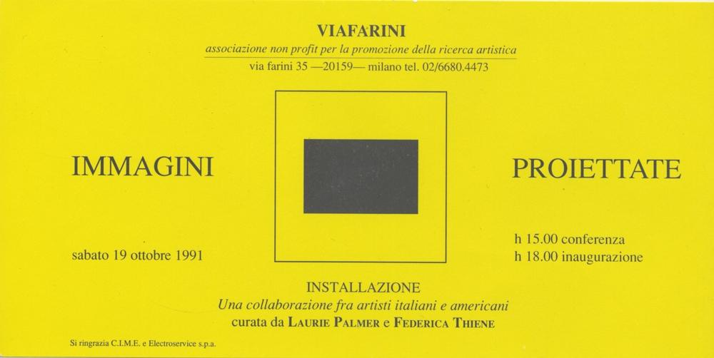 Immagini proiettate, una collaborazione fra artisti italiani e americani