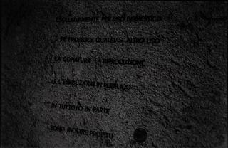 Gianluca Codeghini, Conservare fuori dalla portata, Particolare della scritta a muro. Foto di Davide Bonasia