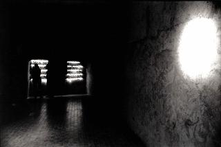 Gianluca Codeghini, Conservare fuori dalla portata, Veduta della prima sala, con la scritta a destra e in fondo l'ingresso alla seconda sala. Foto di Davide Bonasia