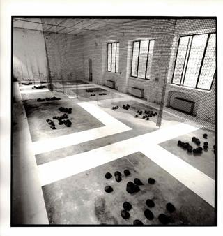 Antonella Ortelli, Carla Vendrami, Resa, Pittura a pavimento, maglia di rete blu, noci di cocco. Foto di Andrea Martiradonna
