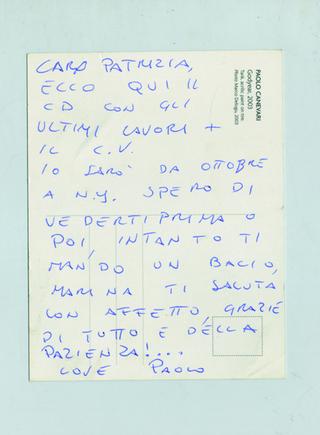 Paolo Canevari, Disegno, Cartolina ricevuta da Paolo Canevari negli anni a seguire, durante i quali si èmantenuto un ottimo rapporto