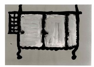 WURMKOS - Wurmkos Design, Caterina Caserta, Armadio, 1992. Acrilico e pittura fosforescente su carta.
