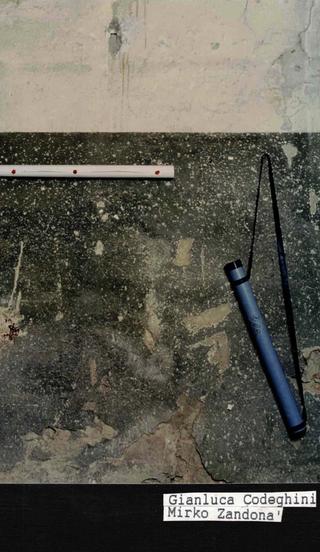 """Membership Viafarini - 80 manifesti per Viafarini, Manifesto di Gianluca Codeghini e Mirko Zandonà: """"Porta il tuo cane qui"""". All'interno del tubo, un disegno un po' pornografico realizzato in polvere di grafite"""