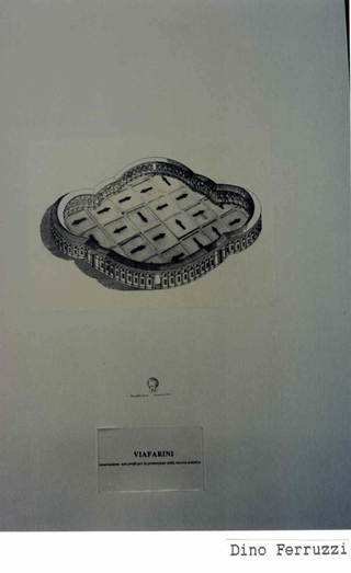 Membership Viafarini - 80 manifesti per Viafarini, Manifesto di Dino Ferruzzi, lo spazio come un'arena