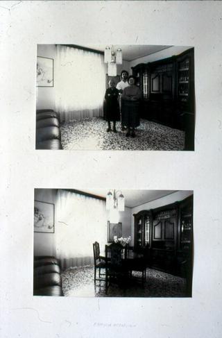 Membership Viafarini - 80 manifesti per Viafarini, Manifesto di Marcello Maloberti: la sua opera Famiglia Metafisica, con mamma e nonna