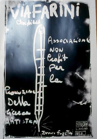 Membership Viafarini - 80 manifesti per Viafarini, Manifesto di Enzo Umbaca, con la sua tecnica dei vetri affumicati: la temperatura di Viafarini
