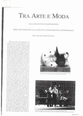 """Articolo di Silvia Grande, Sabrina Zannier, """"Tra Arte e Moda"""", Flash Art"""