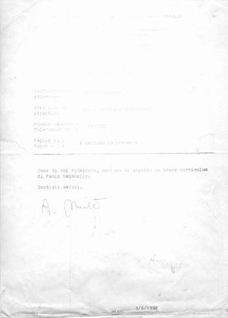 fax di Paolo Deganello.