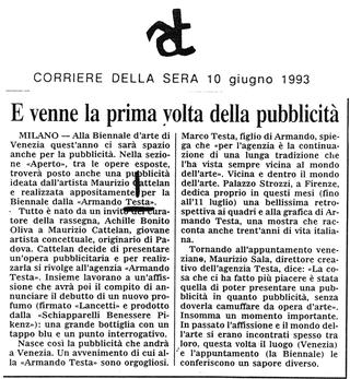 Maurizio Cattelan, Corriere della Sera, 1993