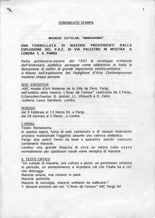Maurizio Cattelan, Ninnananna,1993