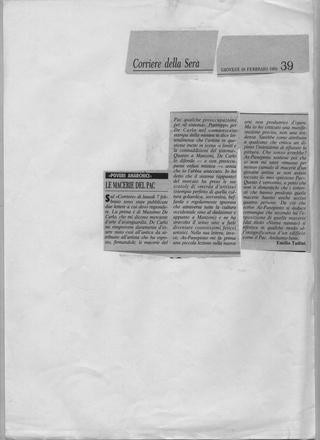 Maurizio Cattelan, Corriere della Sera, 1994