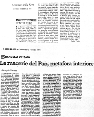 Maurizio Cattelan, Il Sole 24 Ore, 1994