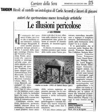 Maurizio Cattelan, Rivoli, Corriere della Sera, 1994