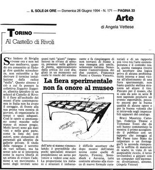 Maurizio Cattelan, Rivoli, Sole 24ore, 1994