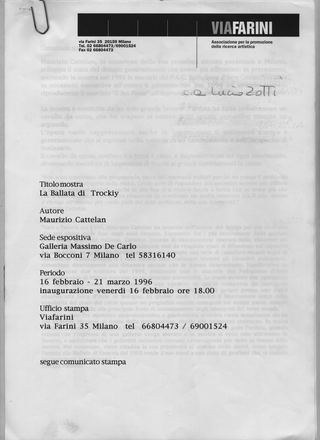 Maurizio Cattelan, La Ballata di Trockij, 1996